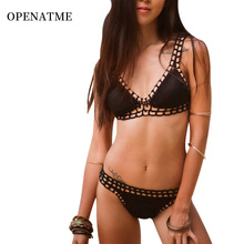OPENATME Push Up Neoprene Bikini Set Women Sexy Swimsuit Crochet Bikini Set Neoprene Knitted Women Swimwear Female Beach купальник overflowing kai 1379 2015summer women neoprene swimwear bikini triangl