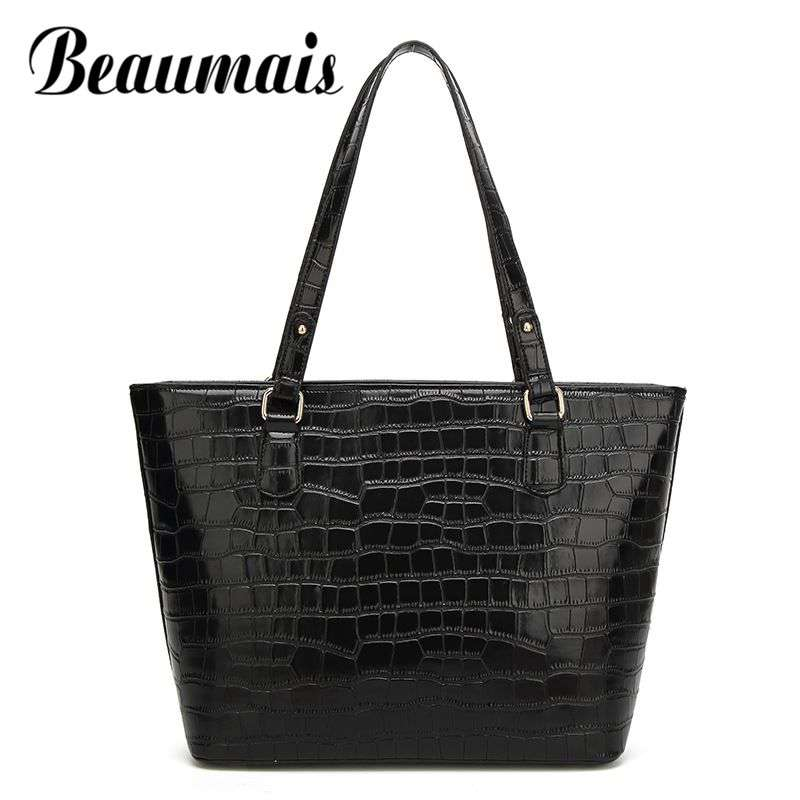 Beaumais Fashion Women Bag Crocodile Shoulder Bag For Wome Luxury Handbags Women Bags Designer High Quality Famous Brand DF0018 2016 new hot luxury plaid women bags handbags high quality leather bags for women shoulder bag famous brand chain shell bag