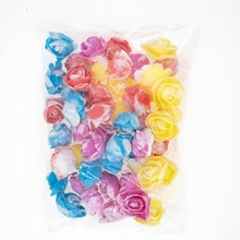 50pcs Multi-Color Foam Rose 3-3.5cm Mini Tiny Flower Artificial Fake PE Head DIY Handmade Wedding Decor Bridal Shower