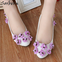 Sorbern Lilac Flower 3Cm Low Heel Wedding Shoes Slip On Kitten Heels Bridal Shoes 5Cm/8Cm High Heel Womens Shoes Heels