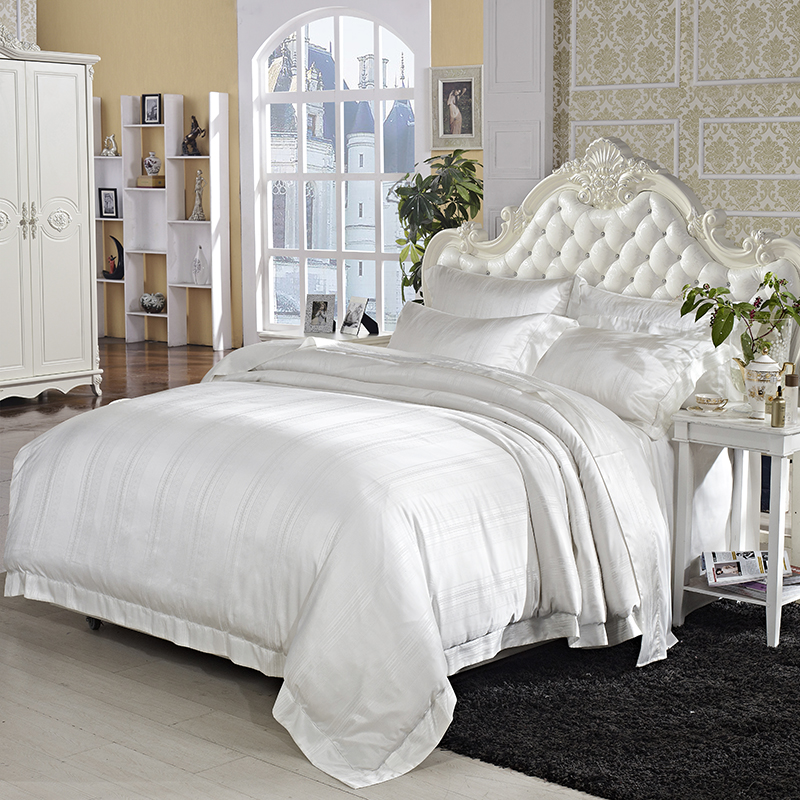 Nature Mulberry Silk Cotton Ultra Soft Duvet Cover Set 4Pcs King Size Beige Luxury Bedding Sets With Bed Sheet Set Pillow Shams
