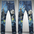 Men's Fashion Natural Panda Animals Print Blue Skinny Jeans Casual Straight Pencil Pant Night Club New Brand Designer Jeans