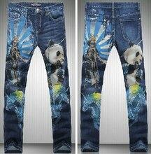 Мужская Мода Природных Panda Животных Печати Синий Узкие Джинсы Повседневная Прямо Карандаш Брюки Ночной Клуб Новый Бренд Дизайнерские Джинсы