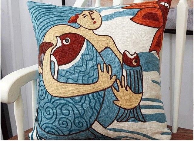 Commercio all'ingrosso di Cotone Ricamo Copertura Del Cuscino Picasso Cuscino Decorazioni Per La Casa Cuscino Decorativo Federa Cuscino Sham 45 cm