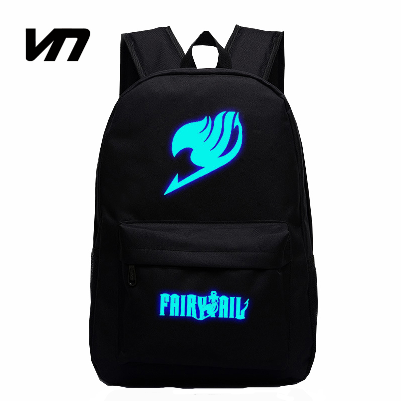 2016 Japan Anime Printing Backpack Cute Fairy Tail Backpack School Bag For Teenagers Luminous Galaxy Nylon Backpack Travel Bags japan anime cardcaptor sakura backpack school bag shoulder bag printing pink backpack