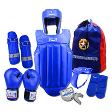 Professional 8 Pieces Sets Sanda Protective Gear Full Set Flanchard Head Protection Chest Guard Boxing Gloves