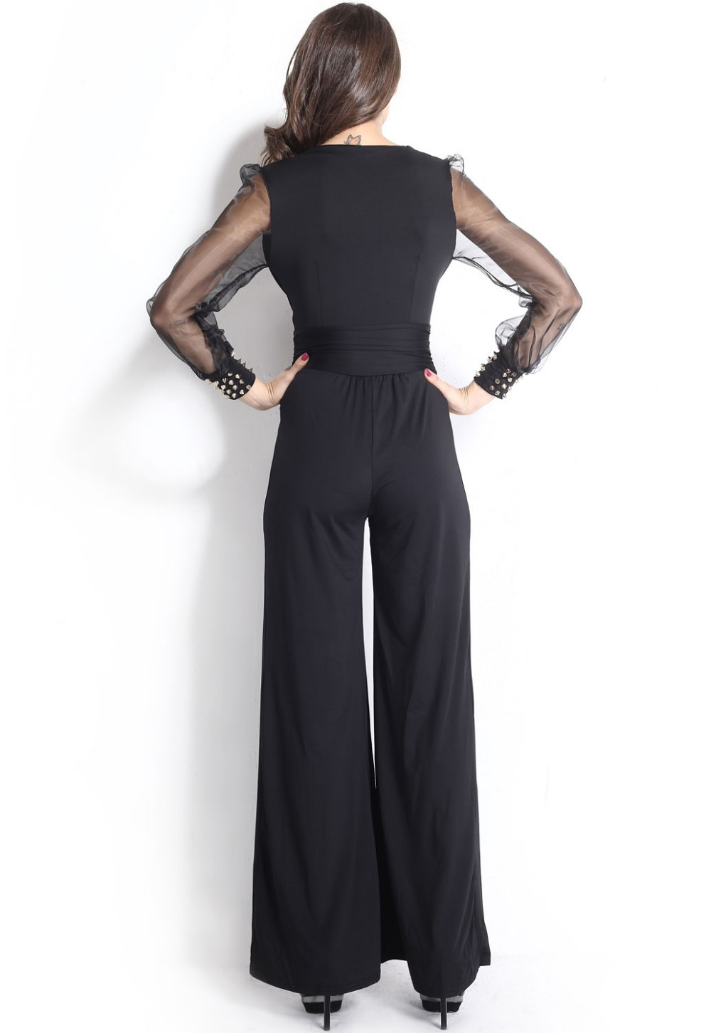Black-Embellished-Cuffs-Long-Mesh-Sleeves-Jumpsuit-LC6650-22151