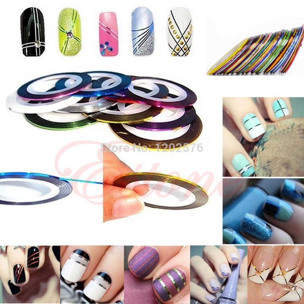 U119 Free Shipping 10Pcs Rolls Striping Tape Line Nail Art Decor Sticker UV Gel Tips Mixed Colors 30pcs pack 2m mixed colors rolls 3d striping tape line diy nail art decoration sticker uv gel polish tips metallic yarn decal