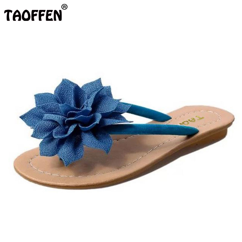 TAOFFEN flower brand quality leisure women sandals slippers summer shoes beach flip flops women footwear size 36-40 WA0183