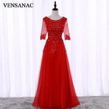 VENSANAC 2018 A Line O Neck Crystals Bow Sash Long Evening Dresses Elegant Party Lace Appliques Half Sleeve Prom Gowns