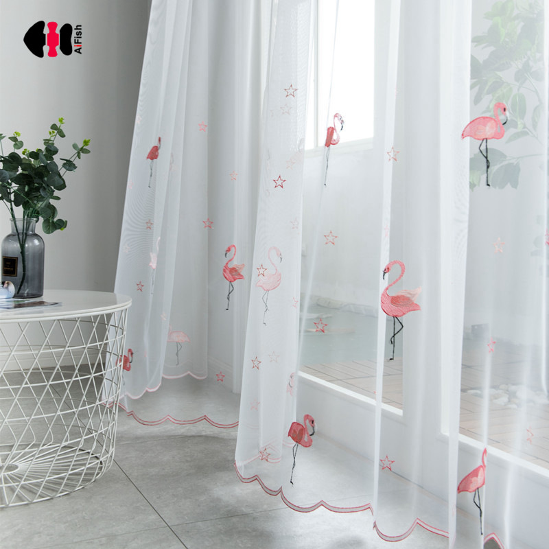 Pink Flamingos Embroidered Voile Curtains For Boys Girls Children Kids Bedroom Nursery Cute Cartoon French Window Gauze WP238C