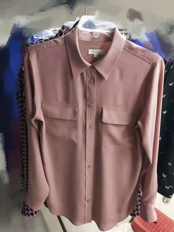 Polvo Doble Caucho Seda Las Mujeres De Túnicas Y Super Hermosa Nuevo Camisa 2019 Bolsillo Tops Mujer FAXFw