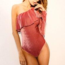 Women Bodysuit Velvet One Shoulder Long Sleeve Pink
