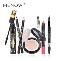 Menow 6Pcs Set Cosmetic Set Eye Shadow Curled Lashes Black Mascare Lipstick Eyeliner BB Cream Concealer