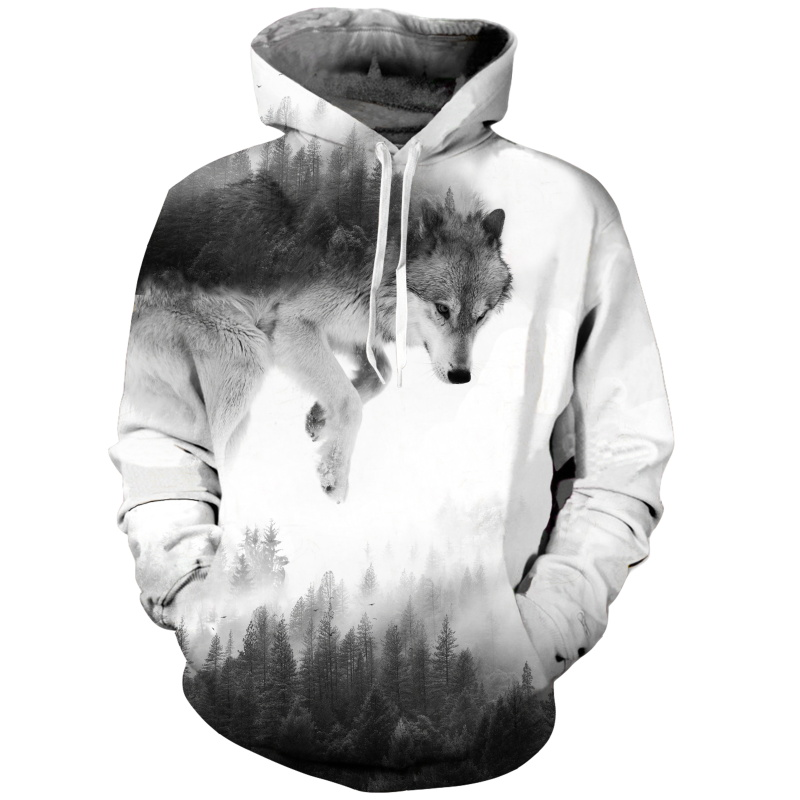 Canis Lupus Arctos Wolf <font><b>Hoodies</b></font> <font><b>3d</b></font> Print <font><b>Animal</b></font> Wolf Men's Hoody Sweatshirt Alisister Hip Hop <font><b>Unisex</b></font> Pullover With Big Pockets image