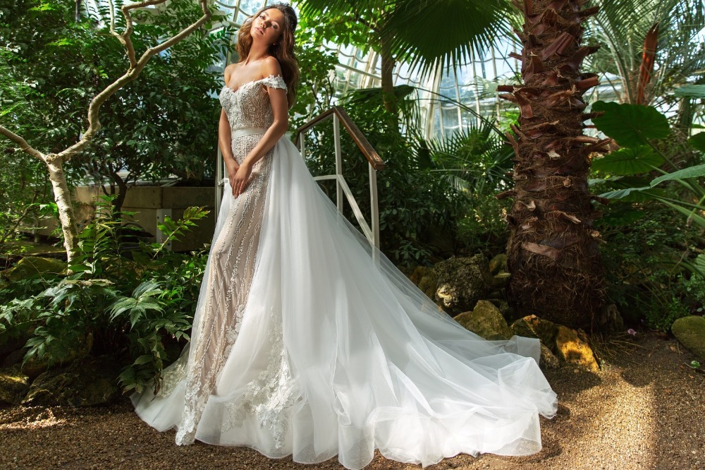 Eslieb Flower Lace Wedding Dresses 2019 Detachable Train