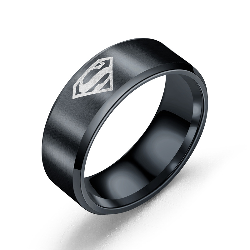Movie Accessories Jewelry Anime Ring Stainless Steel Men 39 s Rings Men 39 s Superman Ring in Rings from Jewelry amp Accessories