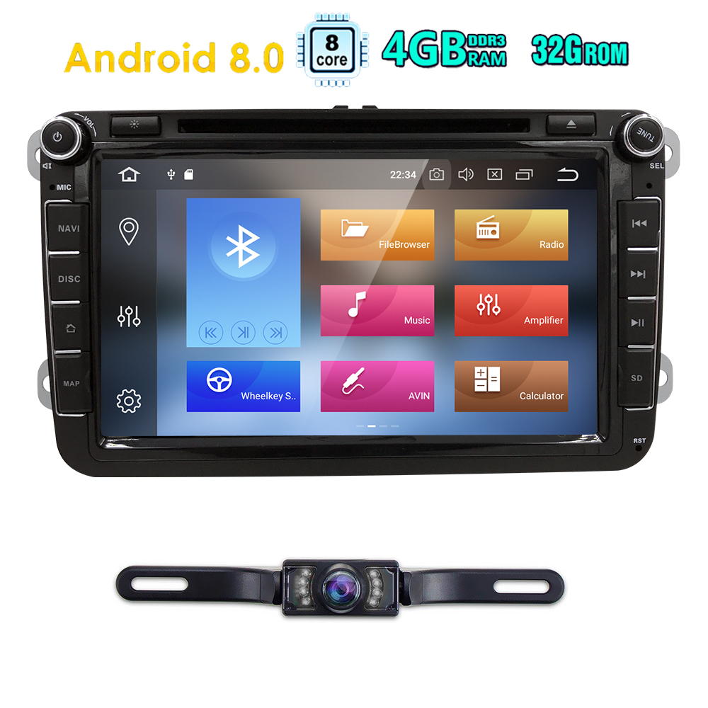 2DIN android 8 0 OctaCore 4G 32G car dvd audio multimedia for Volkswagen VW Golf beetle