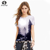 2017 Summer Women Knitted T Shirts Fashion 3D Printed Image of the Tree Short Sleeve O-Neck T Shirts for Female