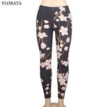 FLORATA New Fashion Casual solf Black Milk Leggings Pants trousers women Elastic flower pants push up jeans