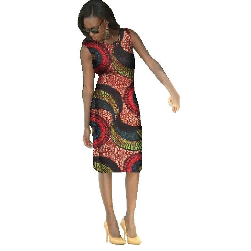 2019 robes africaines pour femmes longueur au genou décontracté traditionnel africain vêtements Bazin Riche manches en coton robes d'afrique