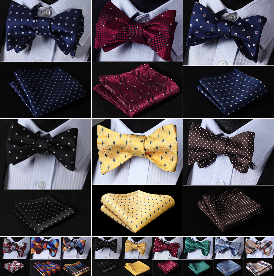 Floral Check Dot 100%Silk Jacquard Woven Men Butterfly Self Bow Tie BowTie Pocket Square Handkerchief Hanky Suit Set #RM1