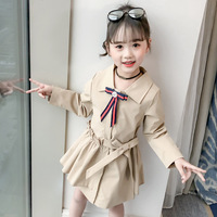 Spring Elegant Cute Girls Windbreaker Jacket Lapel Bow Children Trench Coat with Belt Pleated Hem Kids Clothing 3 12T Years