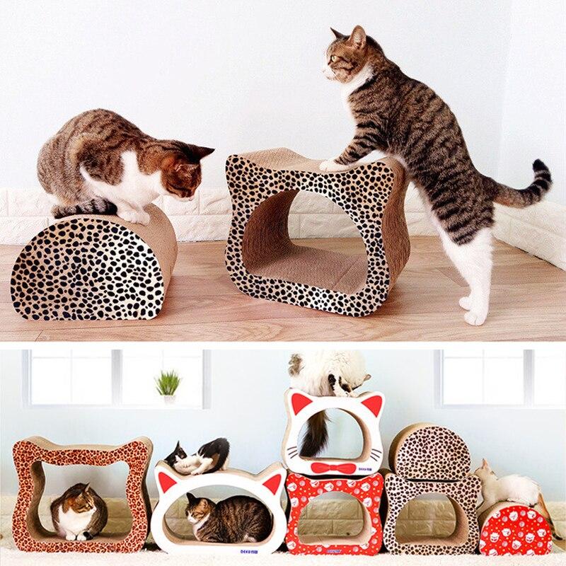 Leopard Cat Cardboard House Head Shape Corrugated Paper Cat Scratch Post Condos Cardboard Scratcher Toy for Cats Tree Climbing