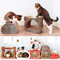 Leopard Cat Cardboard House Head Shape Corrugated Paper Cat Scratch Post Condos Cardboard Scratcher Toy for Cats Tree Climbing
