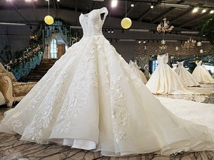 Image 3 - LS74232 weddingdress 2020 ivory and champagne off shoulder sweetheart ball gown lace up wedding dresses with long train