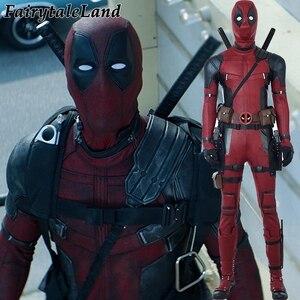 Image 1 - Deadpool 2 Wade Wilson Cosplay kıyafet cadılar bayramı kostümleri DP2 bir kez bir Deadpool kırmızı Suit tulum maskesi ayakkabı kemer özel yapılan