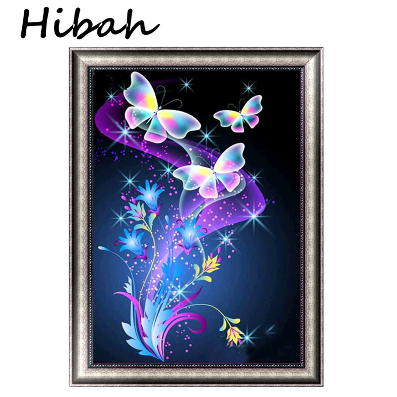 5d diy diamond embroidered butterfly and flower diamond painting cross-stitch round rhinestone mosaic decoration