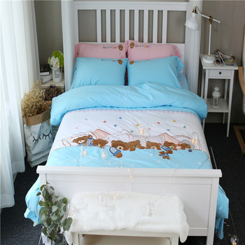100%Cotton Twin Queen size Bedding set for Kids Girls Bed set Duvet cover Bedsheet/Fitted sheets ropa de cama Christmas Gifts