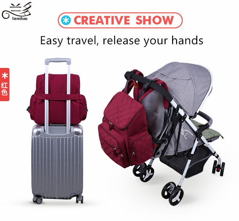 HTB1U1j6p8mWBuNkSndVq6AsApXad Authentic LAND Mommy Diaper Bags Mother Large Capacity Travel Nappy Backpacks with anti-loss zipper Baby Nursing Bags dropship