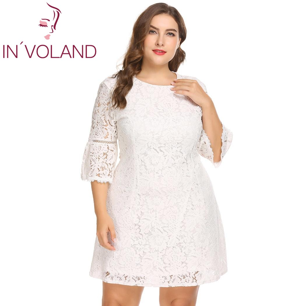 f936155f1c7 US $23.43 40% OFF|IN'VOLAND Plus Size Women Lace Dress XL 5XL Plus Size 3/4  Flare Sleeve Full Large A line Party Dresses Vestidos Oversized-in Dresses  ...