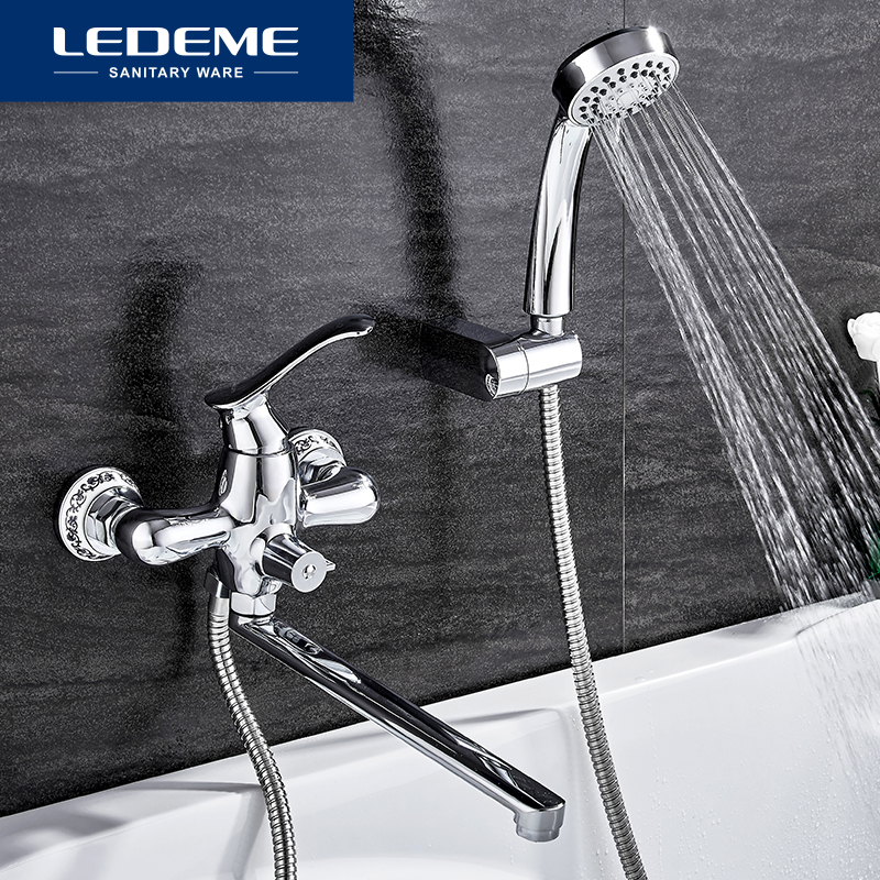 LEDEME Bathroom Faucet Chrome Finish New Wall Mounted Waterfall Bathroom Bathtub Handheld Shower Tap Mixer Faucet L2341 new shower faucet set bathroom thermostatic faucet chrome finish mixer tap handheld shower wall mounted faucets