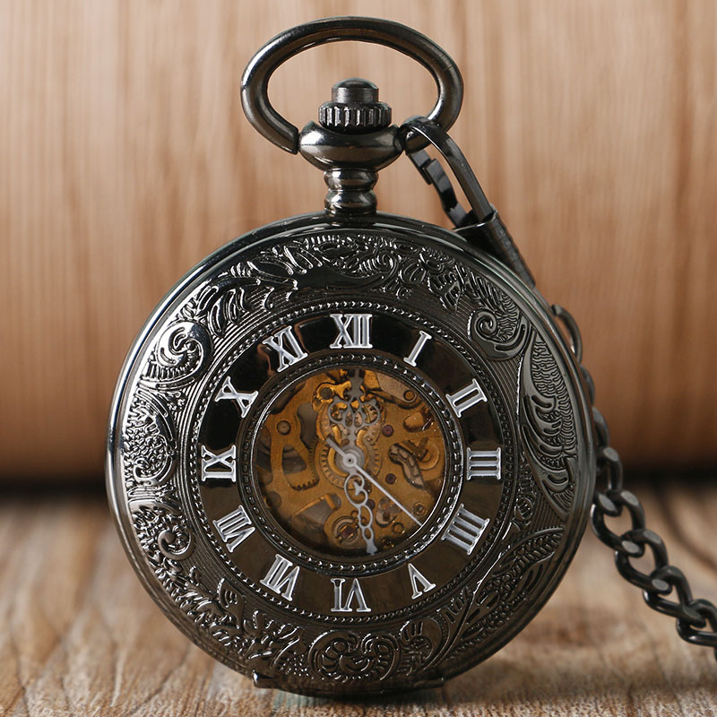 2016 Cool Black Steam Roman Numbers Mechanical Automatic Pocket Watch Fob Watches Casual Skeleton Clock