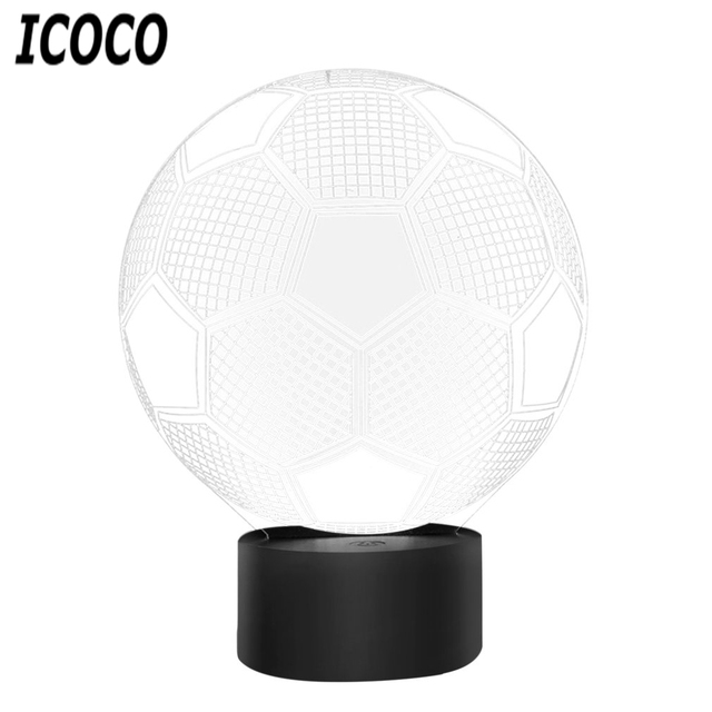 Icoco 7 Colors Soccer Ball Light Football Led Usb Table Lamps Desk Lampara Luminaria Touch