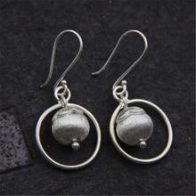 JINSE  Fashion 925 Sterling Silver Earrings For Women Thai 10.5MM Ball Pendant Drop Fine Jewelry 19*19 7.50G