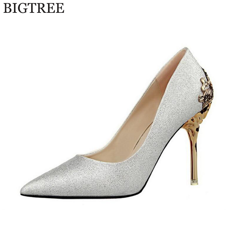 zapatos mujer 2017 Women's High Heels Women Pumps Sexy Bride Party Thin Heel Pointed Toe wedding shoes High Heel Shoes s362