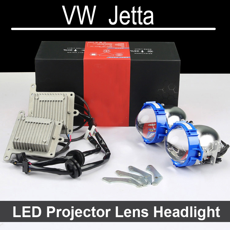 Nice Bi-xenon car LED Projector lens Assembly For VW Volkswagen Jetta with halogen headlight ONLY Retrofit Upgrade (1999-2014) hireno headlamp for mercedes benz w163 ml320 ml280 ml350 ml430 headlight assembly led drl angel lens double beam hid xenon 2pcs