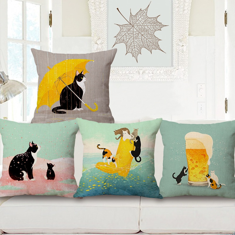 Cat Pattern Throw Pillow Living Room Cushion Cover Car Home Decoration W