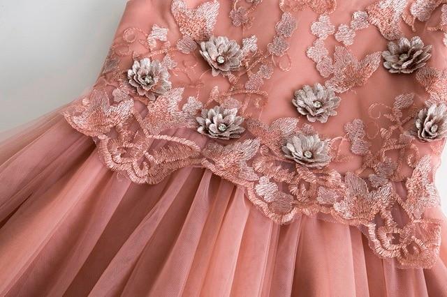 Cielarko Elegant Girls Dress for Wedding Birthday Party Princess Flower Girl Dresses Kids Formal Ball Gown Tulle Fancy Frocks