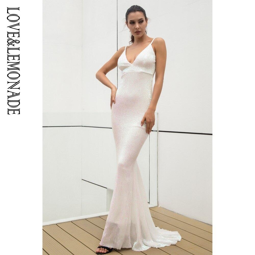 Miłość i lemoniada biały elastyczna cekinowa V kołnierz odsłonięta z powrotem długa sukienka LM0956 w Suknie od Odzież damska na  Grupa 1