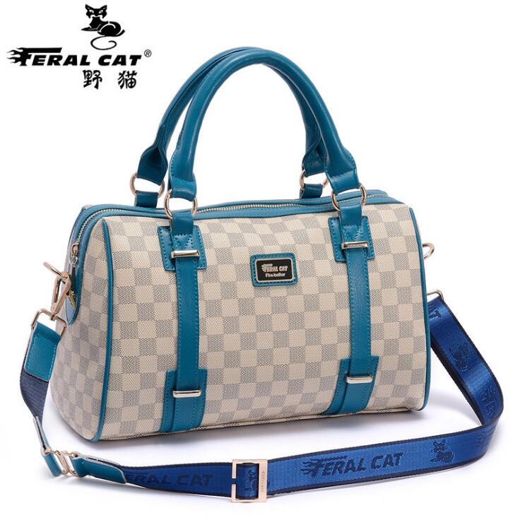 ФОТО FERAL CAT Brands Women Shoulder Bags Fashion Plaid Leather Bags Famous Brands Women Casual Handy Bags Ladies Handbag New FC-6003