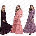 3 Colores de Encaje Prenda Musulmana Abaya Árabe Elegante Larga de Las Mujeres Maxi Vestido Túnica Dubai Caftán Ropa Islámica del Jilbab Turco 065