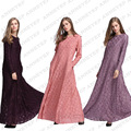 3 Cores Do Laço Vestuário Árabe Muslim Abaya Elegante Mulheres Long Maxi Vestido Robe Dubai Kaftan Vestuário Islâmico Jilbab Turco 065