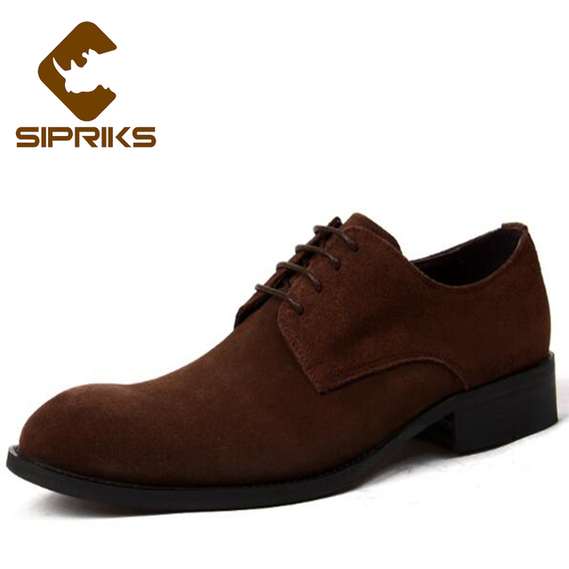 cbe500985d1f0f Sipriks Black Cow Suede Derby Shoes For Men Elegant Grooms Wedding Shoes  Rubber Sole Mens Gents Shoes British Style Formal Shoes