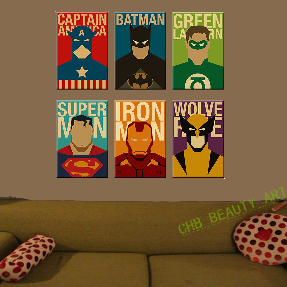 Superheroes Bedroom Aliexpresscom Buy 6 Piece Superhero Canvas Painting Modern Home