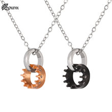 women crown necklace with chain rose gold / black jewelry with AAA+ cubic zirconia men couple necklaces P2534G(China)